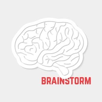 Brainstorming mit weißem umriss-gehirnsymbol. konzept der neurologie, schöpfung, intellektuelle, psychologie, motivation. auf grauem hintergrund isoliert. flacher stil trend moderne logo-design-vektor-illustration