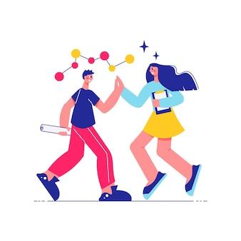 Brainstorming-teamarbeitszusammensetzung mit männlichen und weiblichen charakteren, die sich die hände mit molekularer strukturillustration schütteln