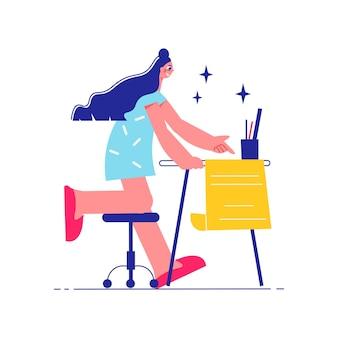 Brainstorming-teamarbeitszusammensetzung mit weiblicher figur am tisch, die an der projektillustration arbeitet