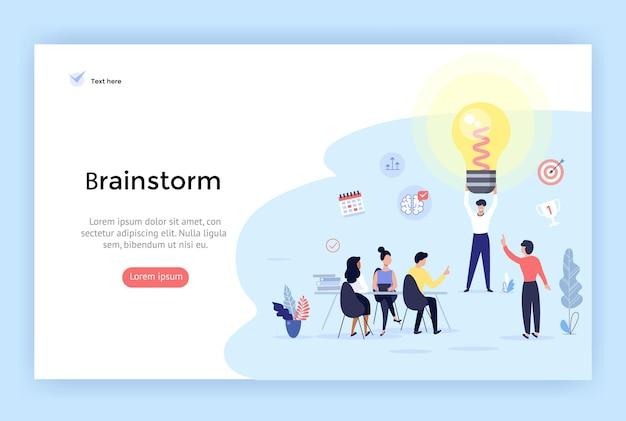 Brainstorming und große ideenkonzeptillustration perfekt für webdesign