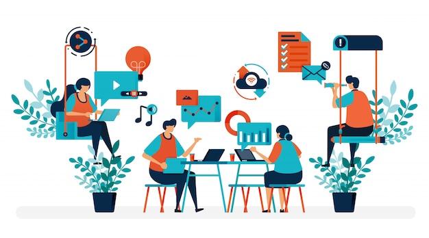 Brainstorming zur lösung des problems. gründungsbüro mit schaukel. moderner arbeitsplatz oder coworking space. spielen und arbeiten.