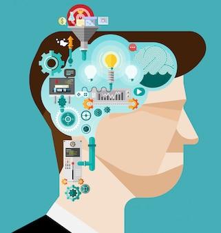 Brainstorminggeschäftsmann schaffen idee