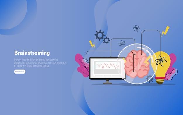Brainstroming-konzept-pädagogische illustrations-fahne
