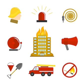 Brandbekämpfung symbole flach