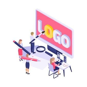 Branding-konzept mit menschen, die logos 3d-darstellung zeichnen und malen
