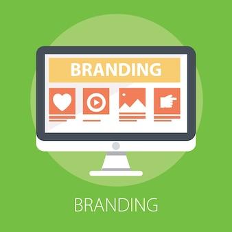 Branding-technologie-konzept isoliert auf grün