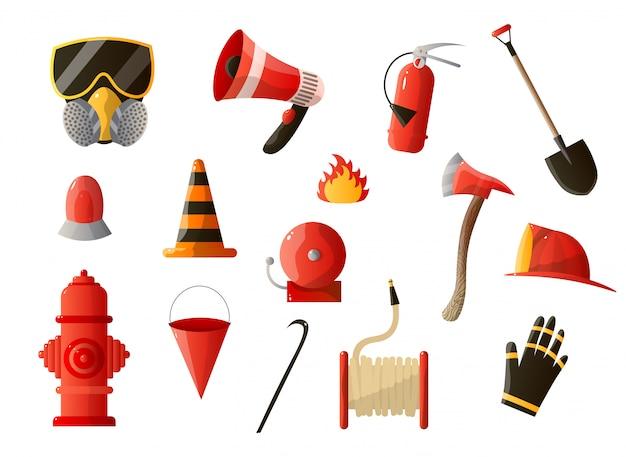 Brandschutzausrüstung auf weißem hintergrund eingestellt