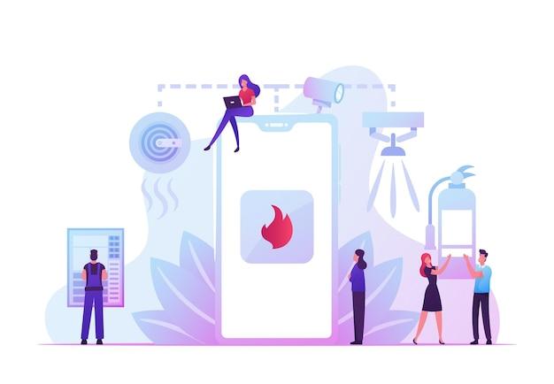 Brandschutzsystem-konzept. menschen erhalten benachrichtigung vom smartphone über einen brandunfall. karikatur flache illustration