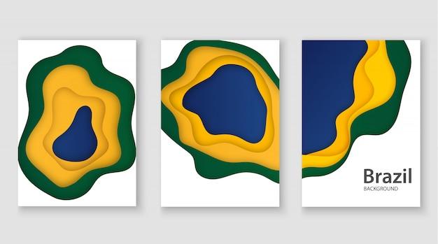 Brasilianische 3d-flagge im papierschnittstil. abstraktion im stil des kunstdesigns. verwendung für poster, flyer, druck.