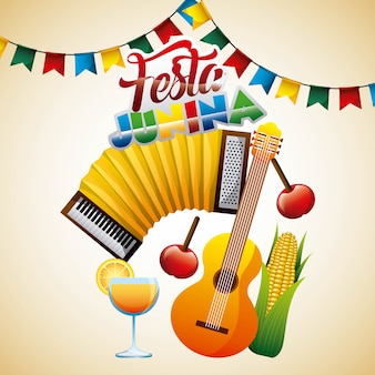 Brasilianische feier festliche festa junina poster