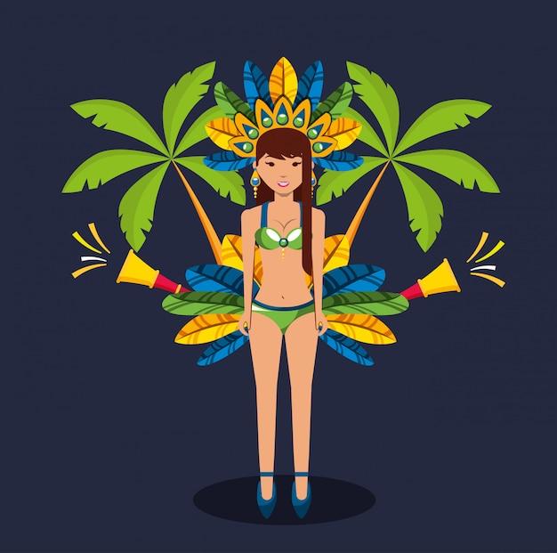 Brasilianische garota tanzende karnevalscharakterillustration