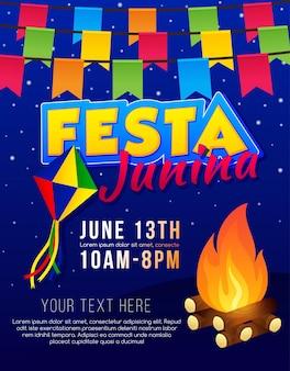 Brasilianische juni-party. lateinamerikanischer feiertagshintergrund.