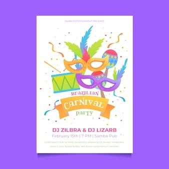 Brasilianische karnevals-plakatschablone des flachen designs