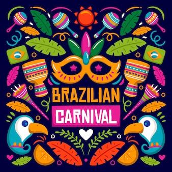 Brasilianische karnevalsereignisillustration mit festlichen elementen