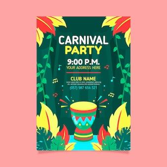 Brasilianische karnevalsfliegerschablone des flachen designs