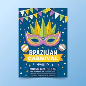 Brasilianische karnevalsfliegerschablone im flachen design