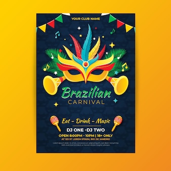 Brasilianische karnevalsfliegervorlage im flachen design