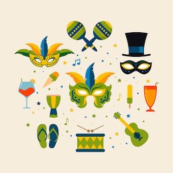 Brasilianische karnevalsgegenstand-vektorillustration
