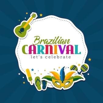 Brasilianische karnevalsgrußkartenschablone