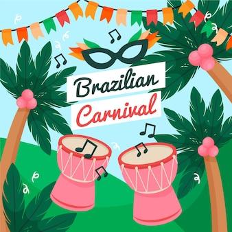 Brasilianische karnevalshand gezeichnet Premium Vektoren