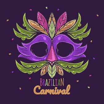 Brasilianische karnevalsillustration mit maske
