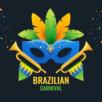 Brasilianische karnevalsmaske des flachen designs mit beschriftung