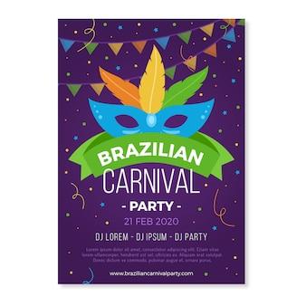 Brasilianische karnevalsparty mit buntem maskenplakat
