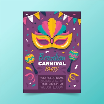 Brasilianische karnevalsplakatschablone