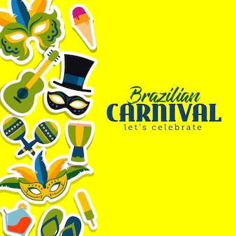 Brasilianische karnevalsschablonen-vektorillustration