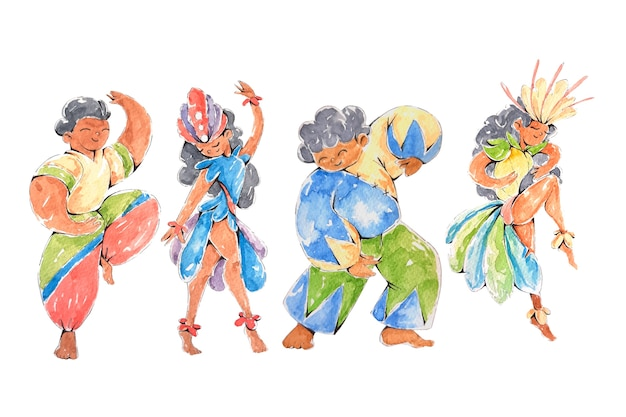 Brasilianische karnevalstänzer, die glücklich sind