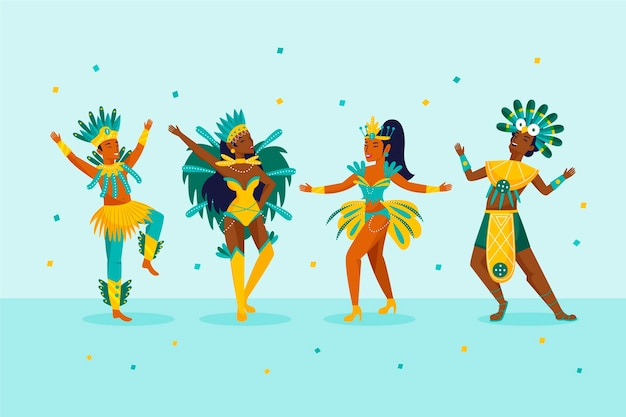 Brasilianische karnevalstänzer draußen und konfettis