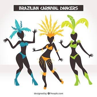 Brasilianische karnevalstänzeransammlung von drei
