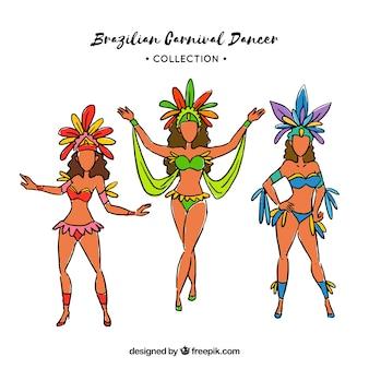 Brasilianische karnevalstänzeransammlung