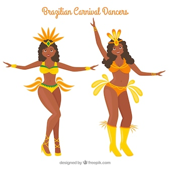 Brasilianische karnevalstänzersammlung im gelben bikini