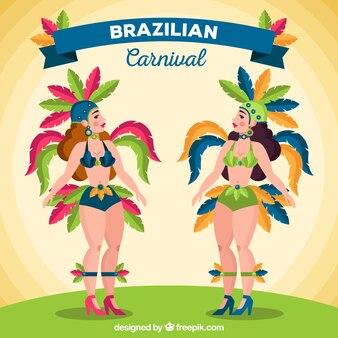 Brasilianische karnevalstänzersammlung mit federn