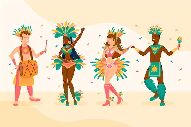 Brasilianische karnevalstänzersammlung