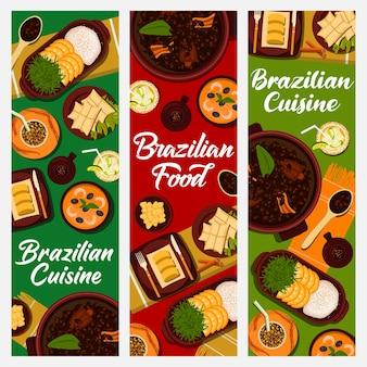Brasilianische küche vektor limettencocktail caipirinha, zuckermaisbrei pamonha und chimarrao mate. schwarze bohneneintopf feijoada, meeresfrüchteeintopf moqueca oder schweineschwarte torresmo, orangenreis essen von brasilien banner
