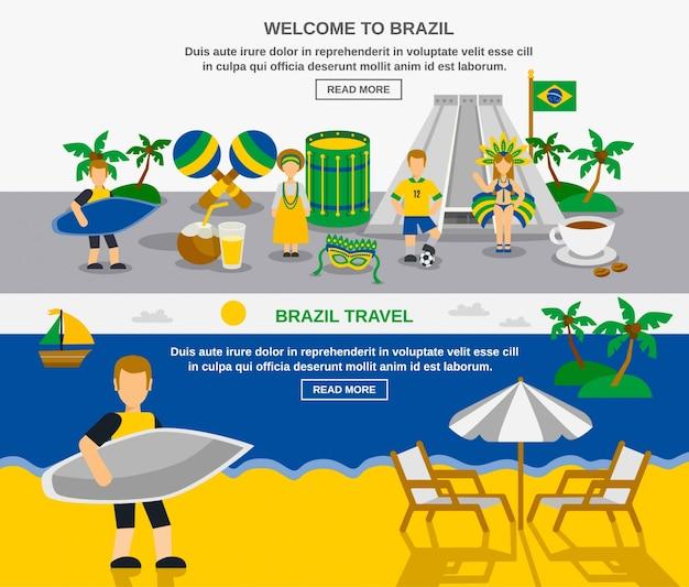 Brasilianische kultur 2 flache banner zusammensetzung