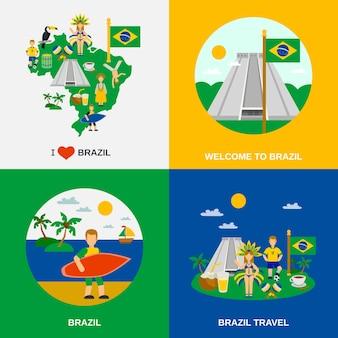 Brasilianische kultur 4 flache ikonen square