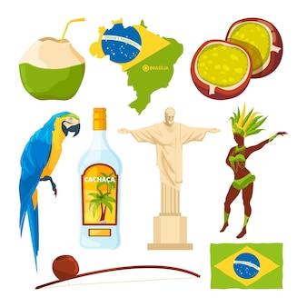 Brasilianische wahrzeichen und verschiedene kulturelle symbole. brasilien reisen, brasilianische kultur, karneval und wahrzeichen.