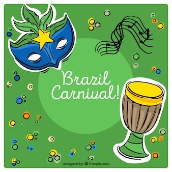 Brasilianischen karneval hintergrund mit handgezeichneten dekorative elemente