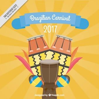 Brasilianischen karneval hintergrund mit kleinen trommeln
