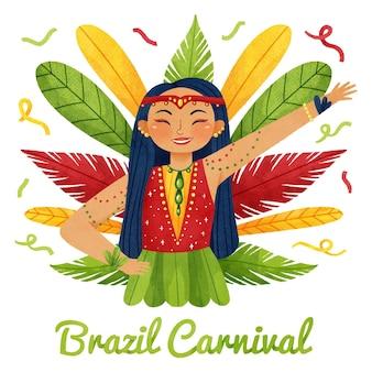 Brasilianischer karneval des aquarells mit federn