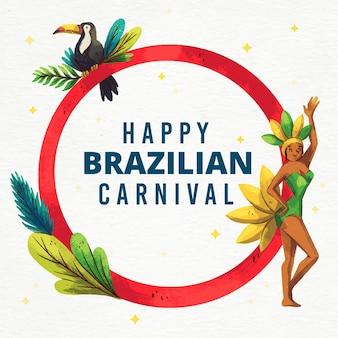 Brasilianischer karneval des aquarells mit mädchen