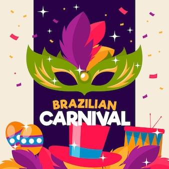 Brasilianischer karneval des flachen designs mit grüner maske