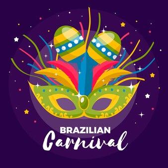 Brasilianischer karneval des flachen designs mit maske und maracas