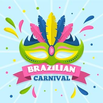 Brasilianischer karneval des flachen designs mit maske