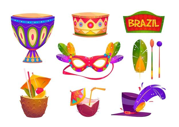 Brasilianischer karneval elemente gesetzt