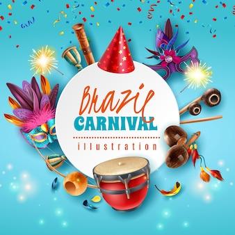 Brasilianischer karneval feier festliche accessoires runder rahmen mit funkelnden lichtern partyhüte masken musikinstrumente vektor-illustration