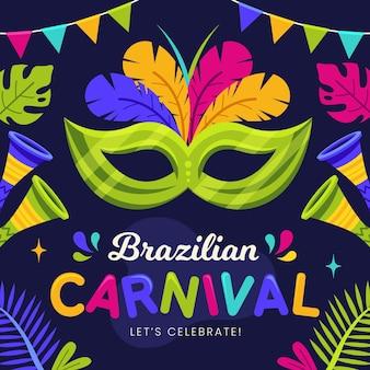 Brasilianischer karneval im flachen design